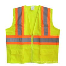 Reflective Strip Zipper Pocket Mesh High Visibility Safety Vest (YKY2817)