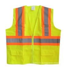 Светоотражающие полосы, карман на молнии сетки высокая видимость жилет безопасности (YKY2817)