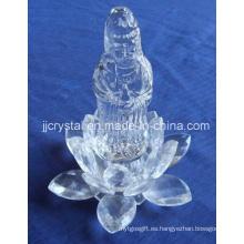 Buda de cristal con base de loto