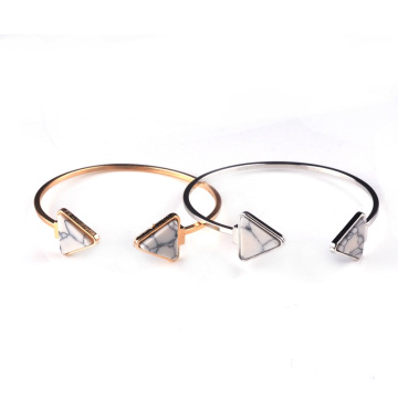 Copper Bangles Gold Plated Triangle Howlite Gemstone