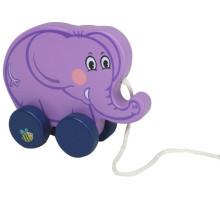 Bebê, madeira, elefante, puxar, ao longo, brinquedo
