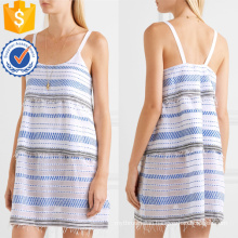 Spaghetti Strap Tiered Embroidered Cotton Mini Summer Dress Manufacture Wholesale Fashion Women Apparel (TA0323D)