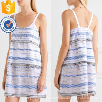 Correa de espagueti con gradas de algodón bordado mini vestido de verano fabricación al por mayor de prendas de vestir de las mujeres de moda (TA0323D)