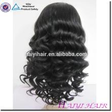 Prix de gros blanchi noeuds suisse pleine dentelle 10A grade vierge brésilienne cheveux perruques pour les femmes noires