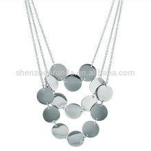 Eternally Haute Stainless Steel 3-row Disc charm Necklace for women