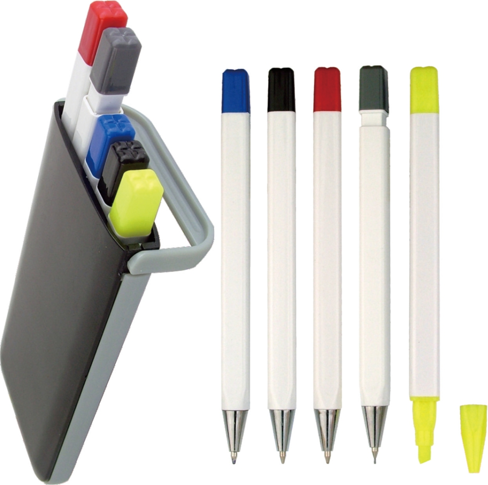 Highlighter Pen and Pencil Set with Holder