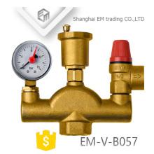 EM-V-B057 Válvula de aire de latón Válvula de seguridad Manómetro de presión Conjunto de tres piezas Accesorios de calefacción por suelo radiante