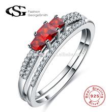 2017 neue Ankunft aliexpress heißer Verkauf 925 Sterling Silber Ring rote Farbe Bogen Form Diamantring mit günstigen Preis