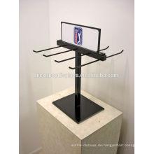 Kundenspezifische Signage Doppelseitige schwarze Metalldraht Point of Sale Counter Top Display Einheiten mit Haken
