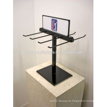 Custom Signage Double Sided Black Metal Wire Ponto de venda Counter Top Display Units com ganchos