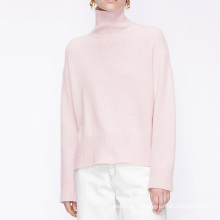 Pink color high neck wool cashmere sweater for women