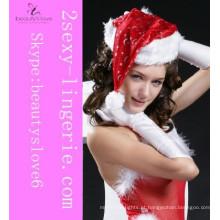 Chapéus de Natal de veludo de moda Chapéu de senhorita Papai Noel com Twinkle Little Star para jovem senhora