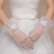 Короткая тюль пять пальцев Свадебные перчатки для свадьбы