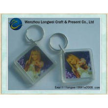 Square OEM acrylic key chain for photo insert souvenir make