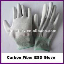 Gant antistatique de fibre de carbone d'ESD avec le palmier d'unité centrale enduit