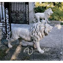 2018 vente chaude pierre sculpture style européen blanc marbre lion statues à vendre