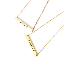Personality Custom Stamp Engraved Stainless Steel Gold Blank Bar Necklace