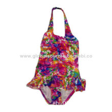 Children's Colorful One Piece Swimwear, Decorative Plastic Hook at the Center of Neck Strap