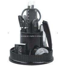 Organizador de papelaria de rotação de mesa de plástico em preto Color406