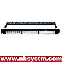 24 portas UTP Cat5e Cat6 Patch Panel com barra traseira 19 '' 1U, com 24pcs UTP Cat.5e Keystone Jacks