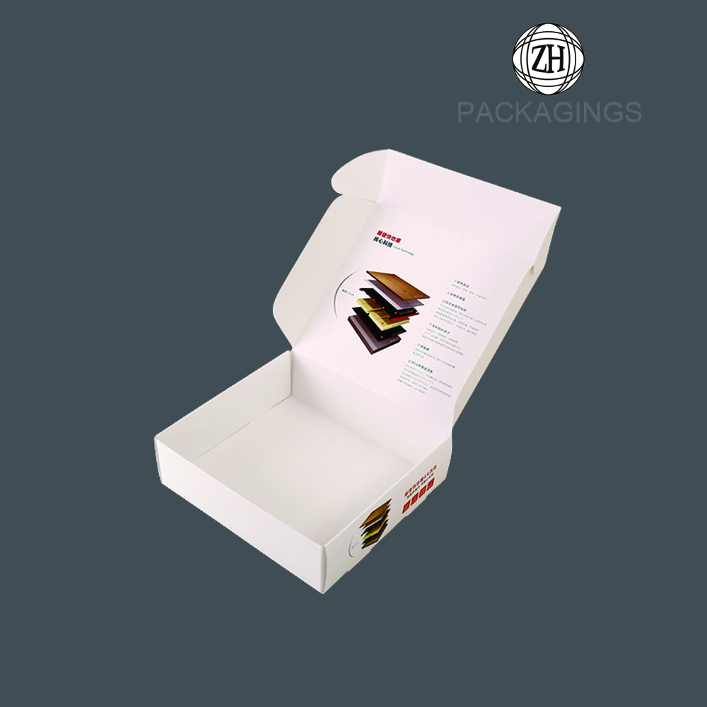 Rigid white 3-layer corrugated paper mailing box