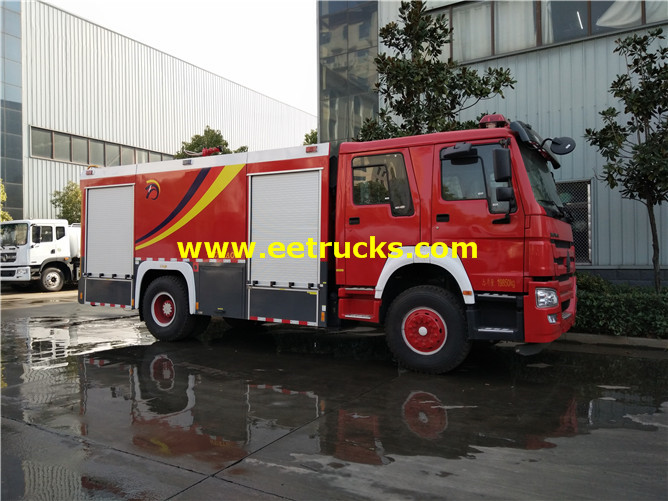 8000 Litres HOWO Fire Rescue Trucks