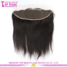 Laço de cabelo humano virgem brasileira não transformados venda quente gratuito parte frontal 13 x 4 natural em linha reta com o cabelo do bebê