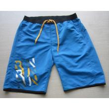 Yj-3021 Mens microfibra azul Velcro cintura elástica Shorts Calças curtas