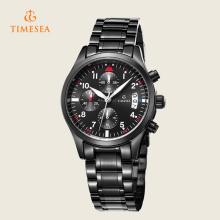 Mens Quartz Relógios Luxo Couro Preto Cronógrafo Moda 72230
