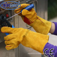 NMSAFETY gants de cuir de vache marron gantelet