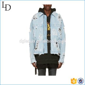 Blue denim zipper distressed jacket men casual spring jacket