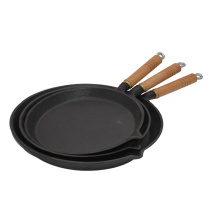factory sell frying pan casr iron with wooden handle