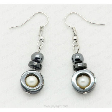 hematite earring with lampwork glass beads
