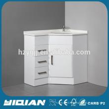 Évier simple Miroir moderne à haute brillance Meuble de coin en MDF blanc