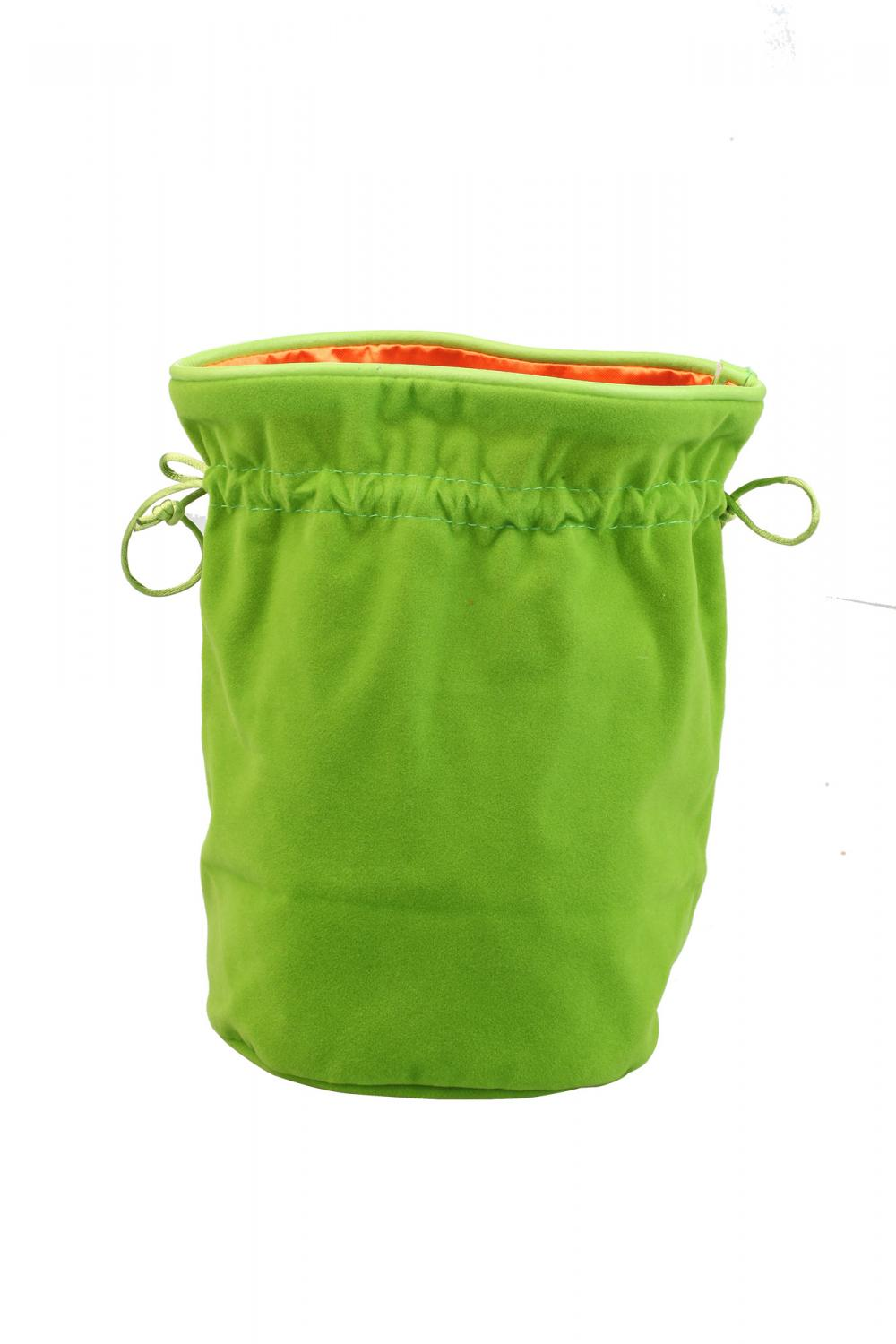 Drawstring Green velvet bag