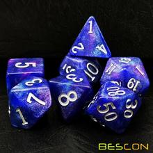 Bescon Starry Night Dice Set Series, 7pcs Polyhedral RPG Dice Set of TWILIGHT, Tinbox Set