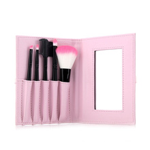 5PCS Two Tone Nylon Hair Cosmetic Kit Makeup Brush Set with Mirror