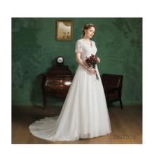 Wedding 2020 Autumn Lace Slimming Fashion Bride Long Sleeve Halter Tail Wedding Dress