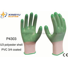 U3 Shell PVC 3/4 guantes de trabajo de seguridad recubiertos (P4303)