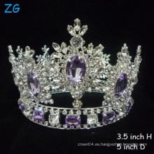 ¡Las más calientes! Tiaras cristalinas lujosas Diamante púrpura Tiara Princesa Crown corona nupcial corona redonda completa del desfile