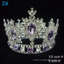 Hottest !!! Luxe Crystal Tiaras Purple Diamond Tiara Princesse couronne de mariée couronne complète
