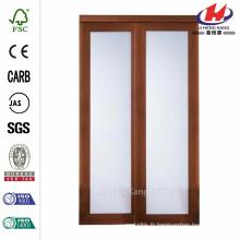 Porte coulissante en verre trempé trempé à cerise grise 1-Lite de 48 pouces x 80 po.