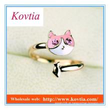 Jóias finas moda doce anel de forma gato bonito anel aberto para meninas