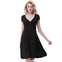 Белль остановить поиски, так как женщины Повседневная черный Cap рукав V-образным вырезом высокой эластичной линии платье BP000314-1