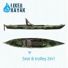 PE PRO caiaque de pesca para venda, 4.3m Comprimento, Seat & Trolley 2in1 especial personalizado, motor disponível