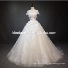Luxury off the shoulder lace flower wedding dress ball gown with big tail