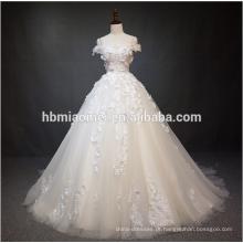 Luxo fora do vestido de baile do vestido de casamento da flor do laço do ombro com cauda grande