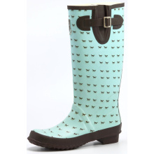 Women Horse Printing Rubber Rain Boots