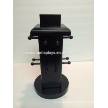 Jewelry Shop Round Shape Tabletop 4-Way 16 Hooks Black Wooden Necklace Display Stand Wholesale