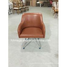 Sillones de salón de cuero marrones de diseño europeo modernos (FOH-LC18)